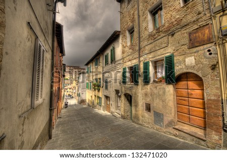 a street in siena of tuscany in italy