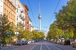 A street in the downtown of Berlin with the view of TV tower
