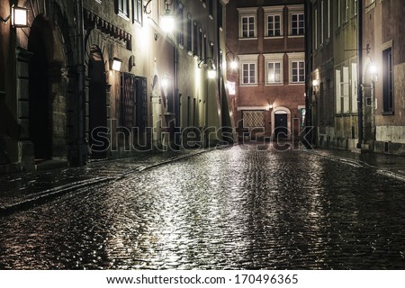 A street in the old town of Warsaw at night