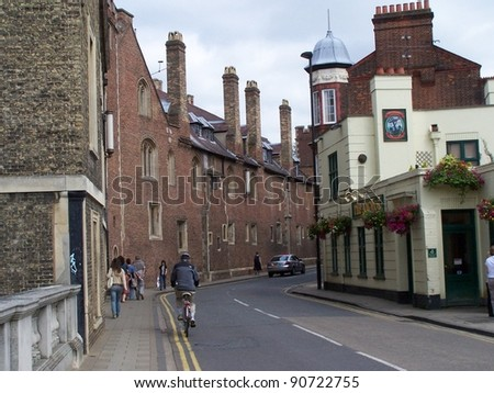 a street in the precincts of the University of Cambridge