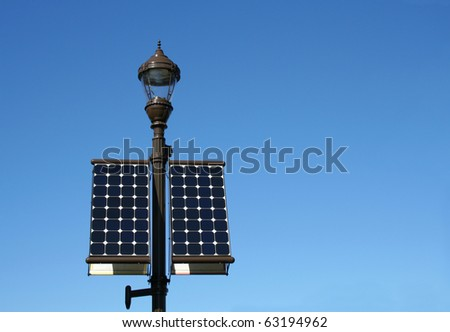 A street lamp powered by solar energy panels