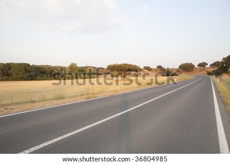 A street of asphalt on the middle of nowhere