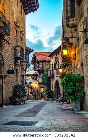 A street of medieval town in Europe. #383231542