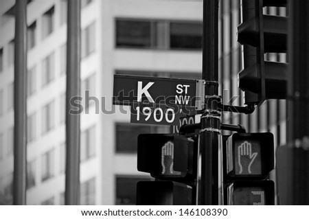 A street sign marking K Street in Washington DC. K Street is the street typically associated with lobbying and lobbying organizations.