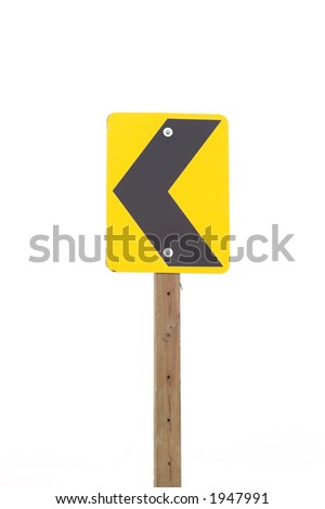 A street sign with left merge arrow.