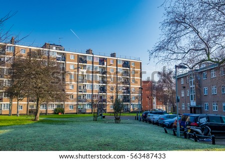 A street with apartment buildings in Hackney, London
