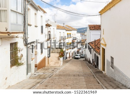 a street with typical white houses in Olvera town, province of Cadiz, Andalusia, Spain