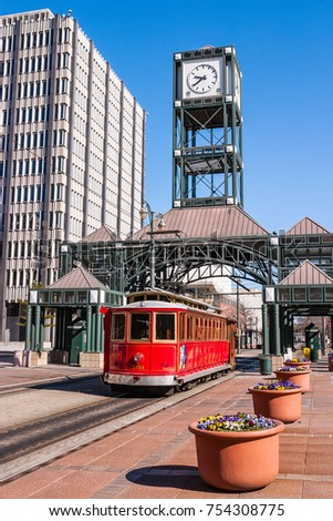 A streetcar, or trolley, operates in downtown Memphis, Tennessee, USA. Streetcars have been making a comeback as an lower-cost, easy to implement transit option in cities.