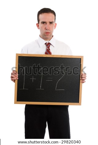 A strict teacher is holding a chalk board with 1+1=2, isolated against a white background - stock photo