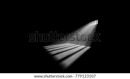 A striking 3d illustration of jail window light in a completely dark prison cell. The rays of sun look like a a beam of hope for freedom. They form wide stripes on jail floor. Foto stock ©