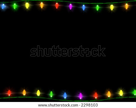 String Christmas Lights From Top Or Bottom : A String Of Christmas Lights Bordering The Top And Bottom On A Black Background. Stock Photo ...