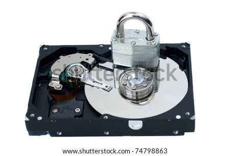 A strong lock sitting on a hard drive to represent security.