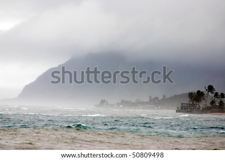 A strong storm hit hawaii beach.