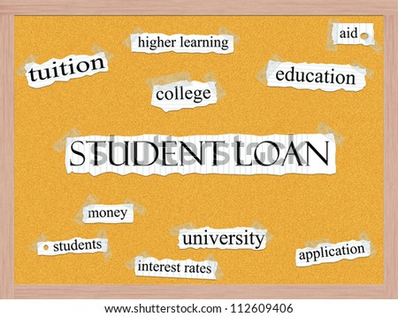 A Student loan word cloud concept with words on notebook paper taped on a corkboard and great terms such as aid, education, tuition, college, and more.