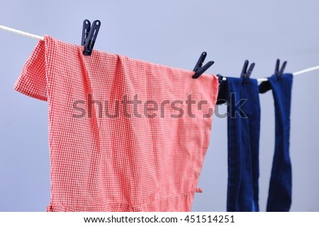 A studio photo of a clothes line #451514251