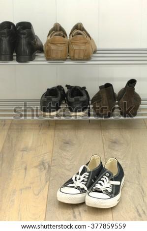 A studio photo of shoe storage #377859559