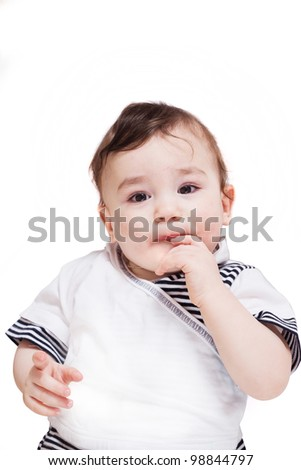 a studio portrait of a nice little child isolated on white background