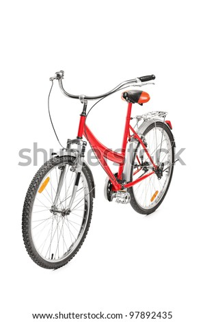A studio shot of a bicycle isolated on white background