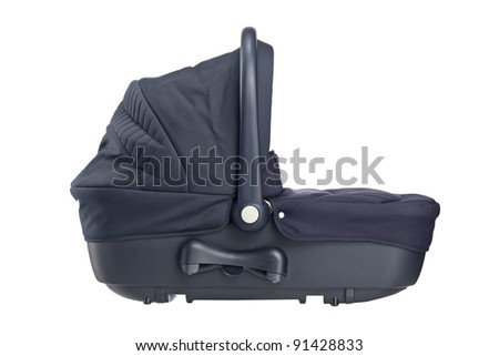 A studio shot of a carrycot isolated against white background