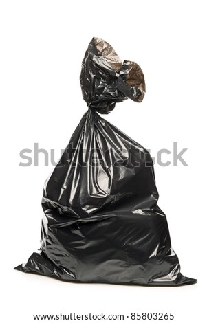 A studio shot of a garbage bag isolated on white background