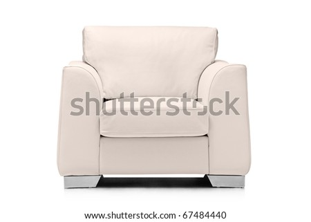 A studio shot of a leather white armchair isolated on white background #67484440