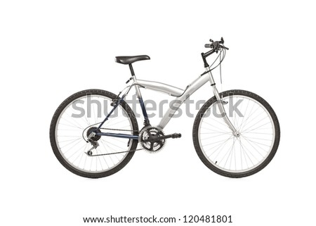 A studio shot of a mountain bike isolated against white background