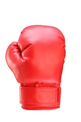 A studio shot of a red boxing glove isolated on white background