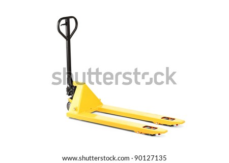 A studio shot of an empty fork pallet truck stacker isolated against white background
