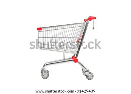 A studio shot of an empty shopping cart isolated against white background
