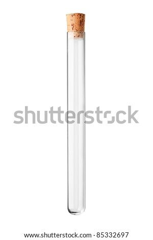 A studio shot of an empty test tube with a cork isolated on white background