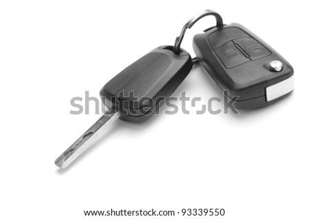A studio shot of car keys isolated on white background