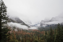 A stunning aerial shot of Yosemite National Park scenery in California, USA