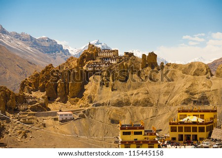 A stunning view of the Himalaya mountains behind the old and new monastery of Dhankar, Spiti Valley, Himachal Pradesh, India