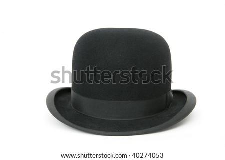 A stylish black bowler hat - isolated on white background - stock photo