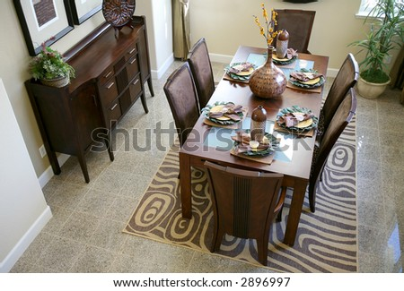 A stylish dining room interior inside an upscale home