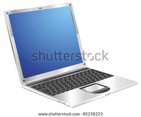 A stylish metallic shiny laptop computer