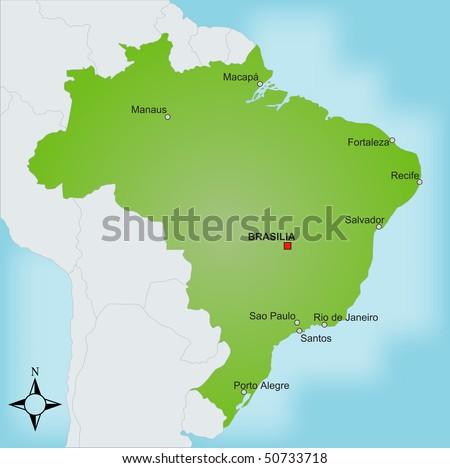 A stylized map of Brazil showing different cities and nearby countries.