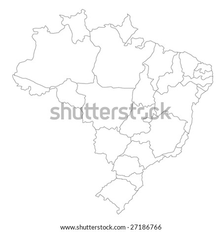 A stylized map of Brazil showing the different provinces. All isolated on white background.