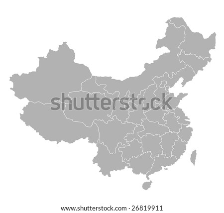 A stylized map of China showing the different provinces.