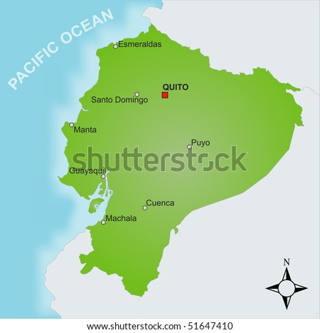 stock photo : A stylized map of Ecuador showing different cities.