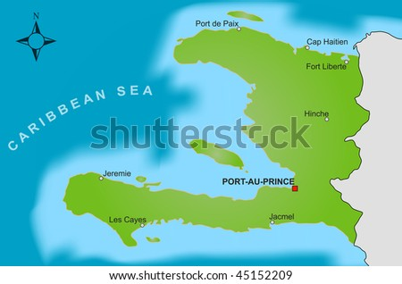 stock photo : A stylized map of Haiti showing different big cities.