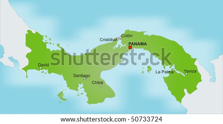 A stylized map of Panama showing the Panama channel, different cities and nearby countries.
