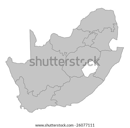 A stylized map of South Africa showing the different provinces. All on white background.