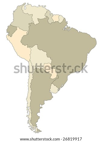 A stylized map of South America showing the different countries.