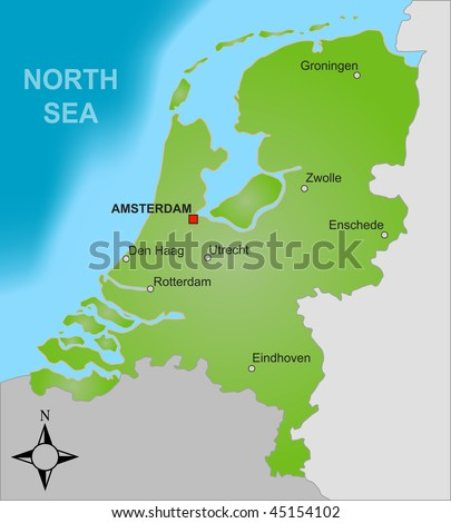 A stylized map of the Netherlands showing different big cities as well as nearby countries.