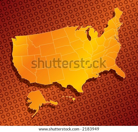 a stylized monochromatic map of the united states of america