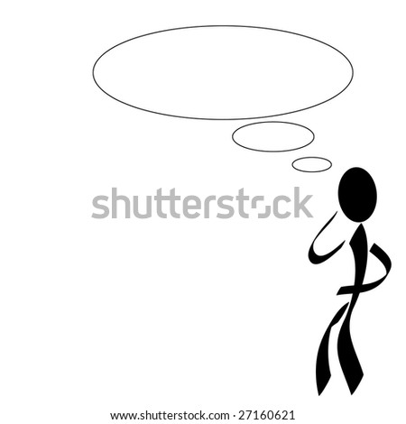 A stylized  person with a ballon above his  head. All on white background.