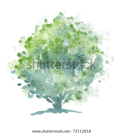 A stylized tree hand-painted with watercolors.