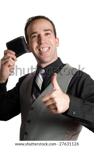 A successful businessman holding his wallet and giving a thumbs up, isolated against a white background - stock photo