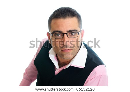 A successful businessman with glasses wearing vest and pink shirt